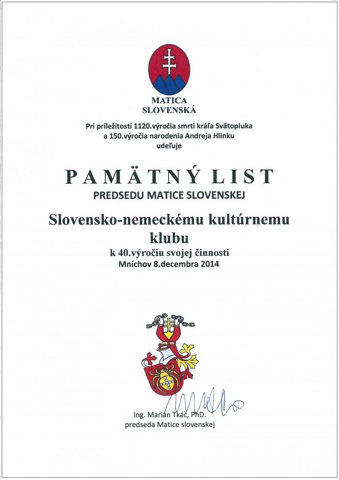 Pamätny list Matica slovenska